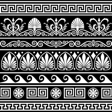 Set of antique greek borders on black Vector