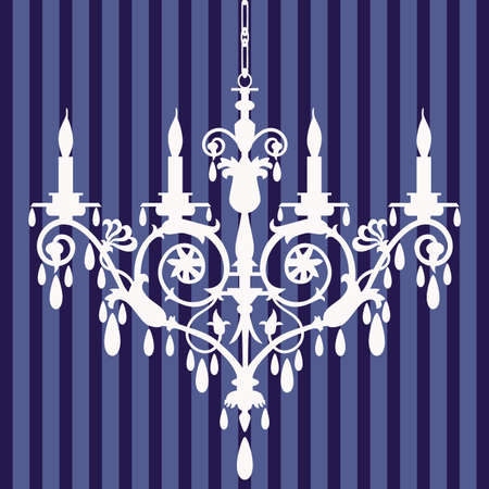 baroque room: Chandelier silhouette Illustration