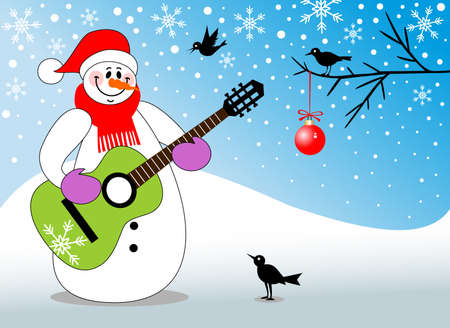playing the guitar: Snowman playing guitar Illustration