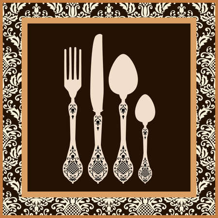 dinner party table: Menu card design with cutlery Illustration