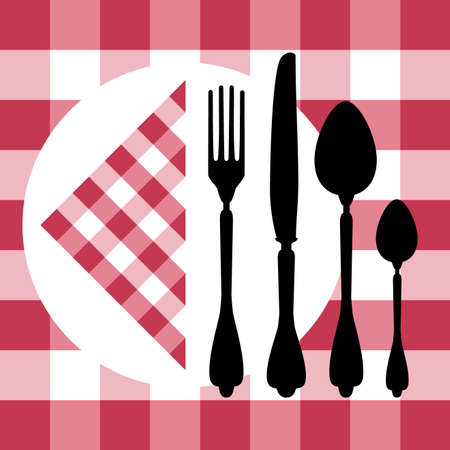 Menu design with cutlery silhouettes on red tablecloth
