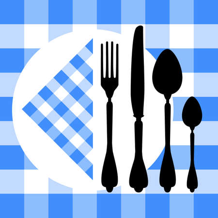 Design with cutlery silhouettes on blue tablecloth Stock Vector - 7484762