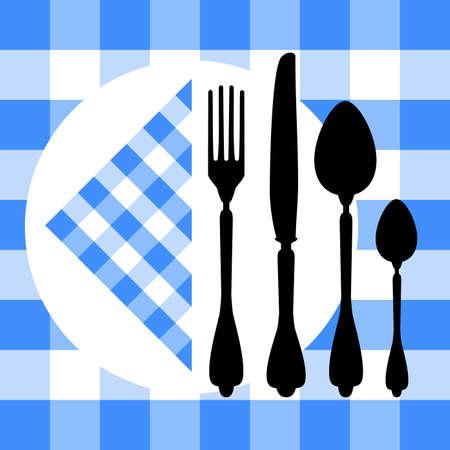 settings: Ontwerp met bestek silhouetten op blauwe tafellaken