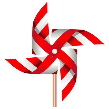 Red windmill toy  Vector