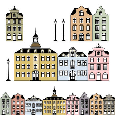 western town: Old town houses. illustration
