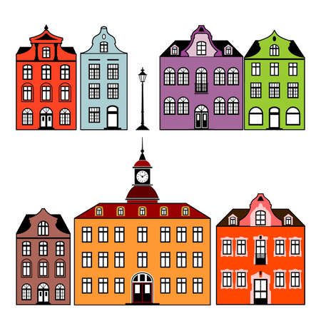 history architecture: Houses Illustration
