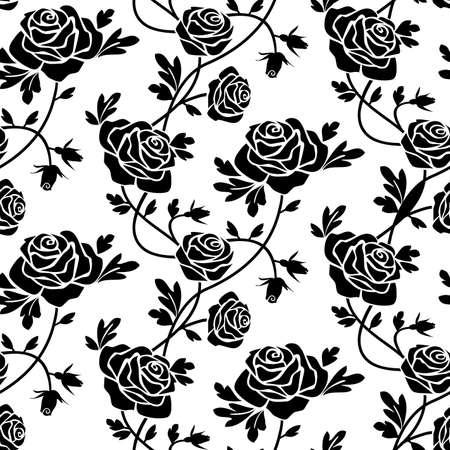 black and white: Black roses at white Illustration