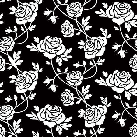 White roses on black Vector