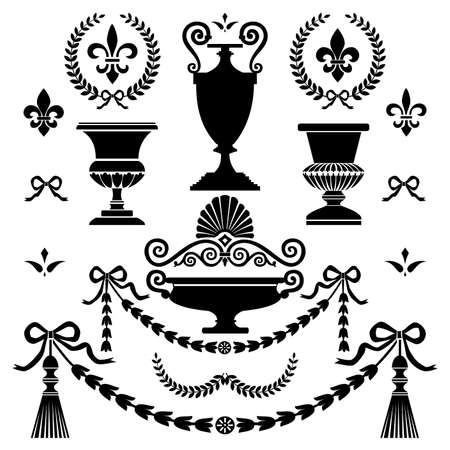 ancient roman: Classic style design elements Illustration