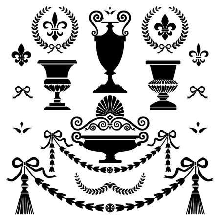 vasi greci: Elementi di design in stile classico Vettoriali