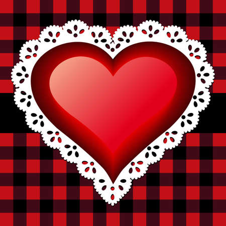 Red lace heart Vector