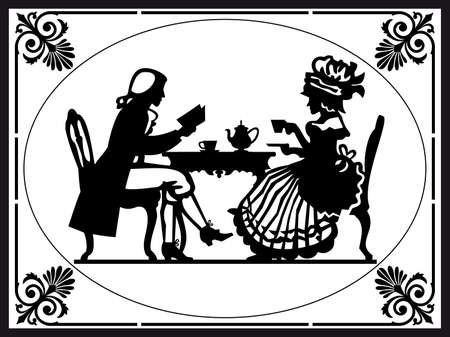 antique woman: Hora del t�