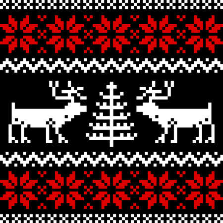 scandinavian: Nordic pattern on black