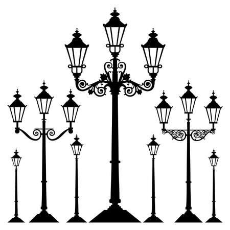 illumination: Luz de calle retro de vectores