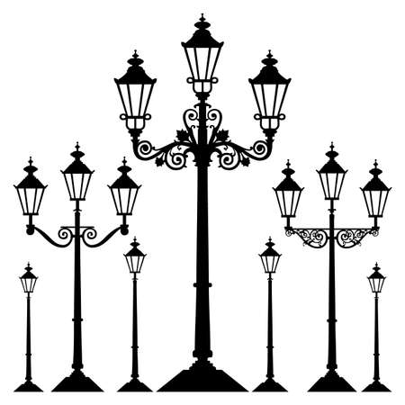 Vector retro street light Illustration