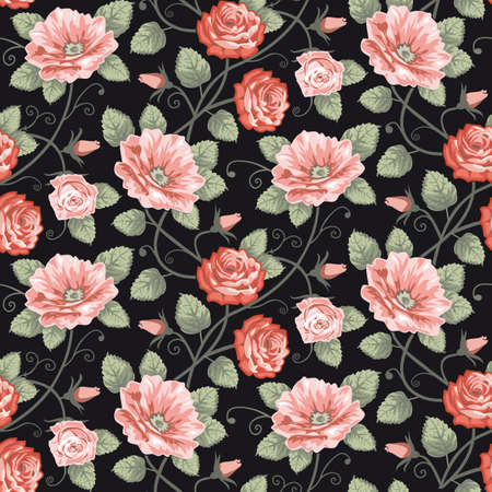 rose leaf: Roses seamless pattern