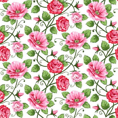Naadloze roses patroon  Vector Illustratie
