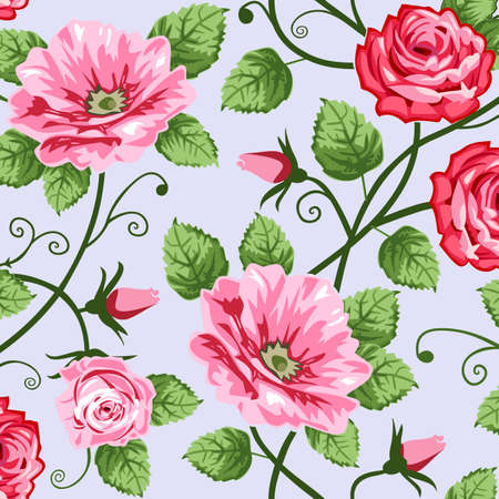 floral scroll: Romantic roses seamless pattern
