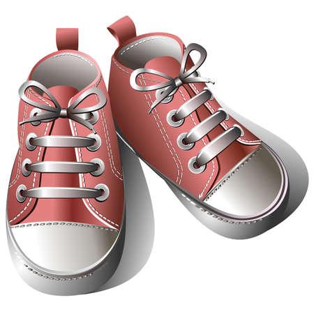 little girl feet: Children shoes Illustration