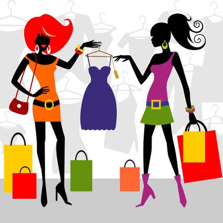 fashion shopping: Mujeres de tiendas de moda Vectores
