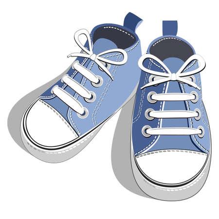 Children blue sneaker Ilustracja