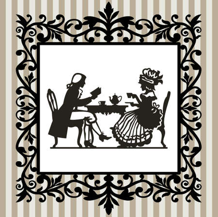 Tea time with frame Vector