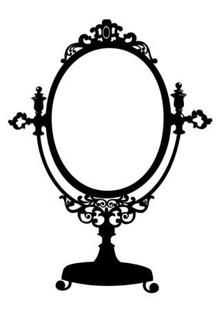 Silhouette of antique makeup mirror Иллюстрация
