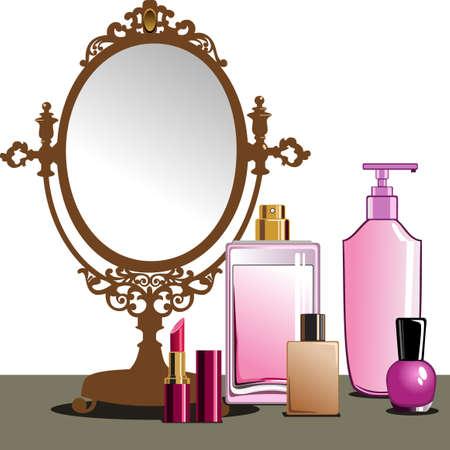 fragrance: Make-up en spiegel Stock Illustratie
