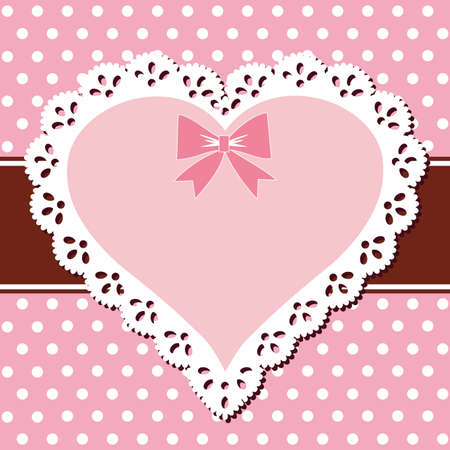 Lace pink heart Vector