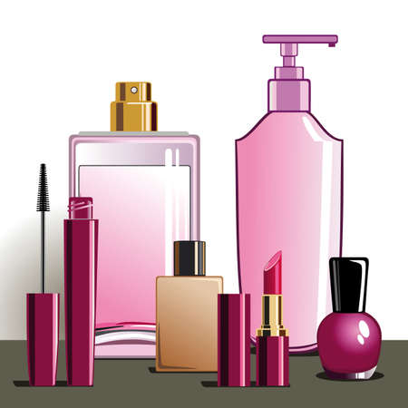 MakeUp and beauty products Ilustracja
