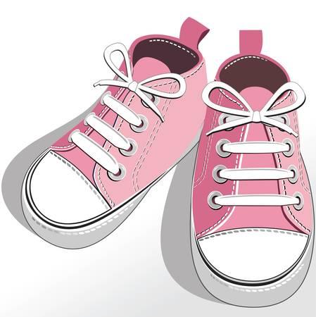 Children pink shoes Vector