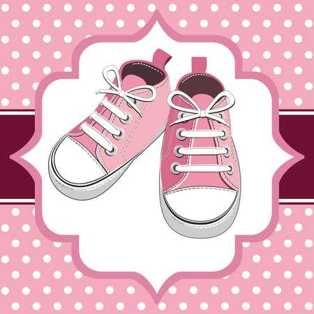 Pink kids sneaker Vector