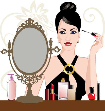 Glamour woman applying makeup Stock Vector - 9273914