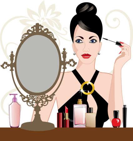 mujer maquillandose: Mujer de glamour aplicar maquillaje