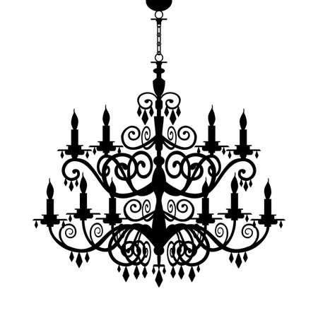 Baroque chandelier silhouette Stock Vector - 9351712