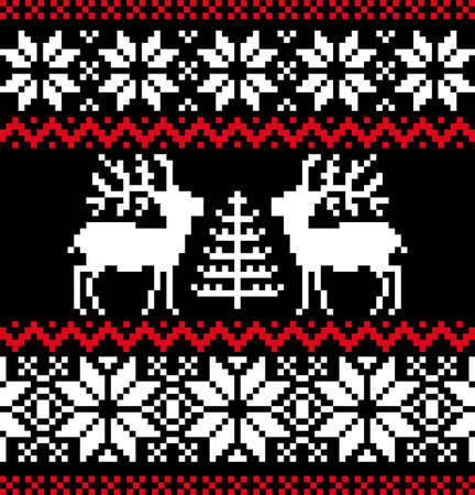 Christmas nordic pattern on black Vector