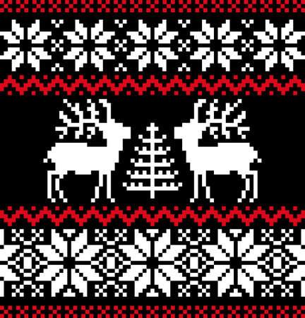 Patrón nórdico de Navidad en negro Ilustración de vector