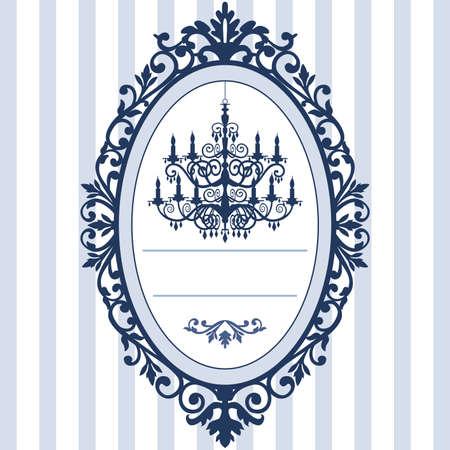 Bruiloft kaart met vintage kroonluchter Stockfoto - 9370287