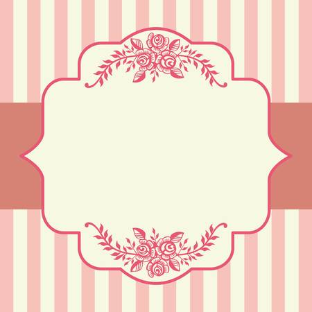 vintage wallpaper: Vintage roses pink frame Illustration