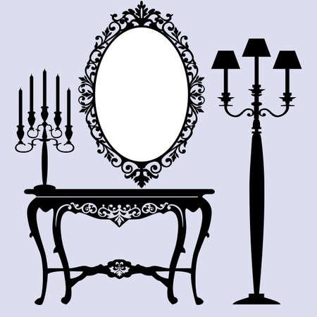 muebles antiguos: Escena interior con muebles antiguos, antiguo espejo, candelabros y consola.