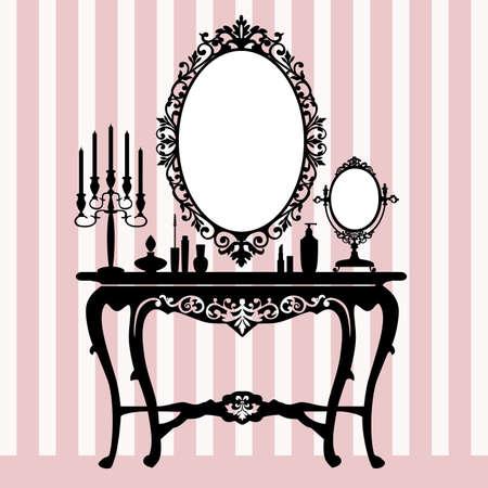 pansement: Miroir, chandeliers et console de pansement r�tro