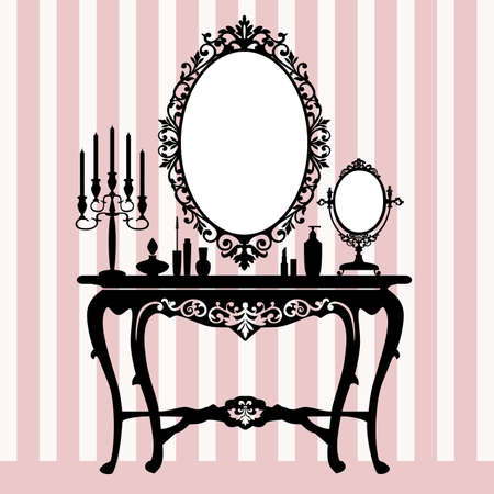 Retro dressing console, candelabra and mirror Ilustracja