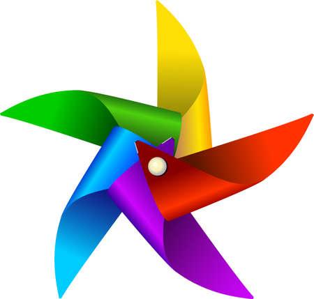 windmolen: Vector illustratie van kleurrijke windmolen speelgoed, geïsoleerd op een witte achtergrond
