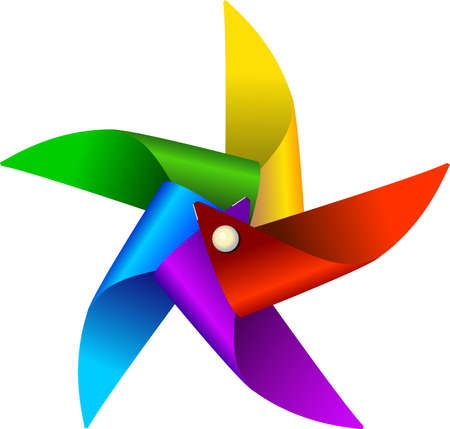 moinhos de vento: Vector illustration of colorful windmill toy, isolated on a white background Ilustração