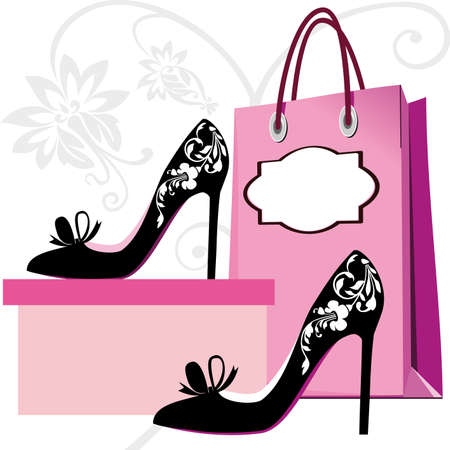 shoe: Silhouettes of women shoes and shopping bag with floral ornaments