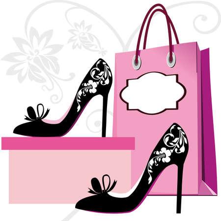 zapato: Siluetas de zapatos de mujer y bolsa con adornos florales