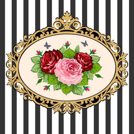 Vintage rose bouquet frame Stock Vector - 9631636