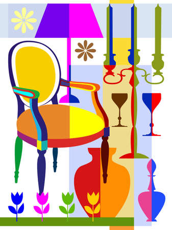Armchair and home interior objects Vector
