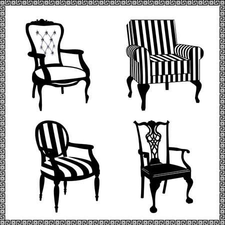 Jeu de chaises antiques silhouettes Vecteurs