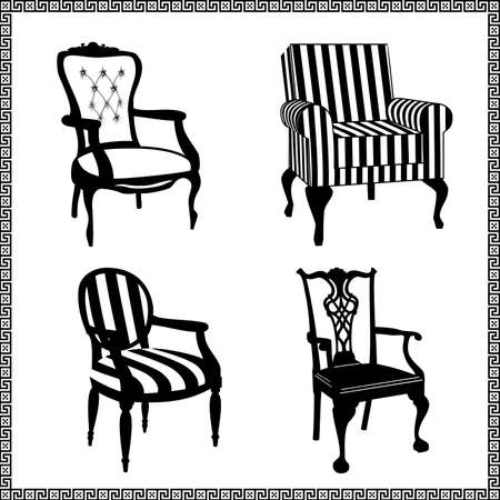 vintage furniture: Set of antique chairs silhouettes Illustration